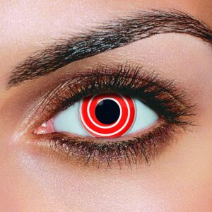 Red White Spiral Contact Lenses